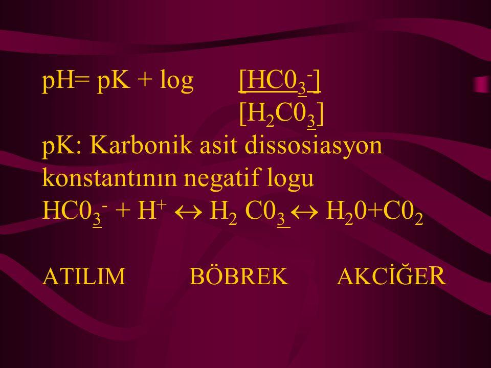 pH= pK + log [HC03-] [H2C03] pK: Karbonik asit dissosiasyon konstantının negatif logu HC03- + H+  H2 C03  H20+C02 ATILIM BÖBREK AKCİĞER